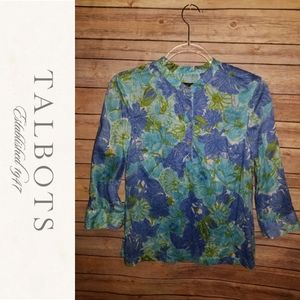 Talbots Beaded Floral Print Blouse | Size Sp